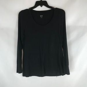 ANA BLACK SIZE PETITE L LONG SLEEVE TEE